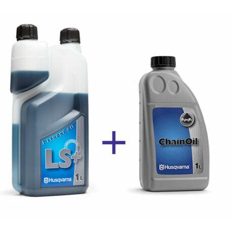 Husqvarna lánckenő és LS+ 2T olaj csomag
